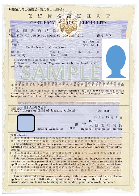 Japan work permit photo size